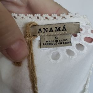 Anthropologie Tops - Anthropologie Anama White Ruffled Eyelet Top S